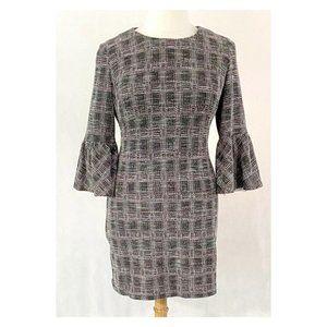 Calvin Klein Bell Sleeve Plaid Knit Textured Dress